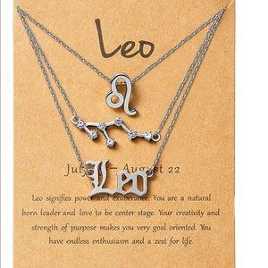 3pcs Leo zodiac sign necklace